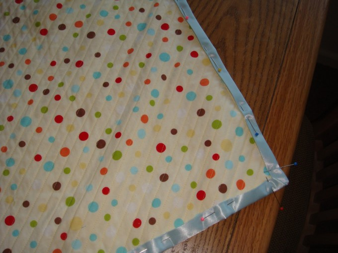 Chenille Blanket With Multicolor Dotted And Blue Silky Rim For Blanket Ideas