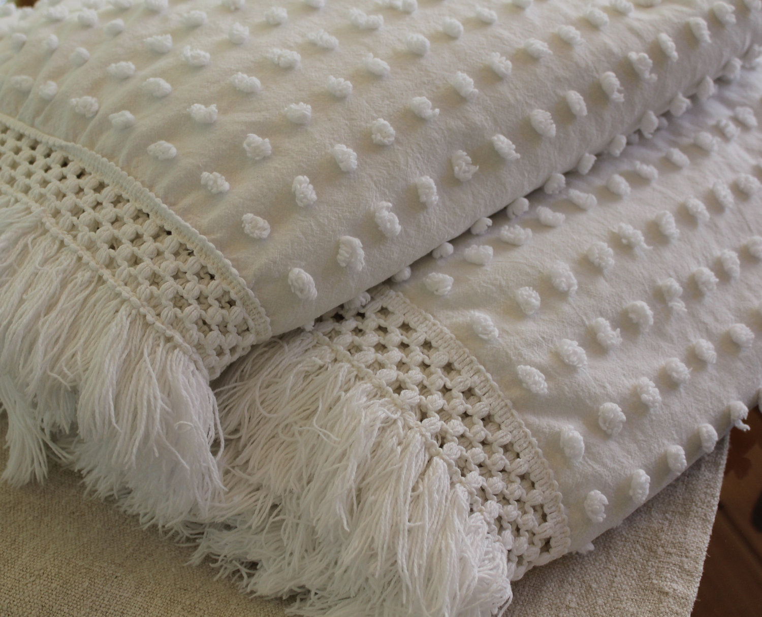 chenille blanket with white dotted motif and tassel for blanket ideas