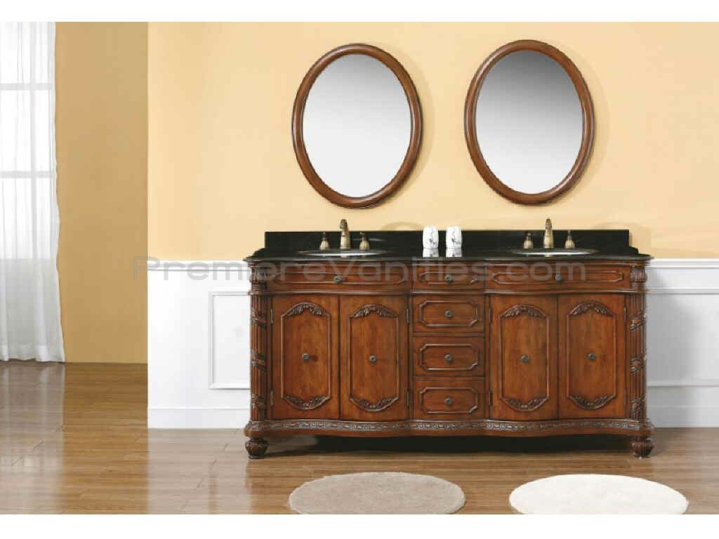 cherry bathroom vanities with tops and double sinks and faucets on wooden floor matched with orange wall with white wainscoting plus mirror for bathroom decor ideas