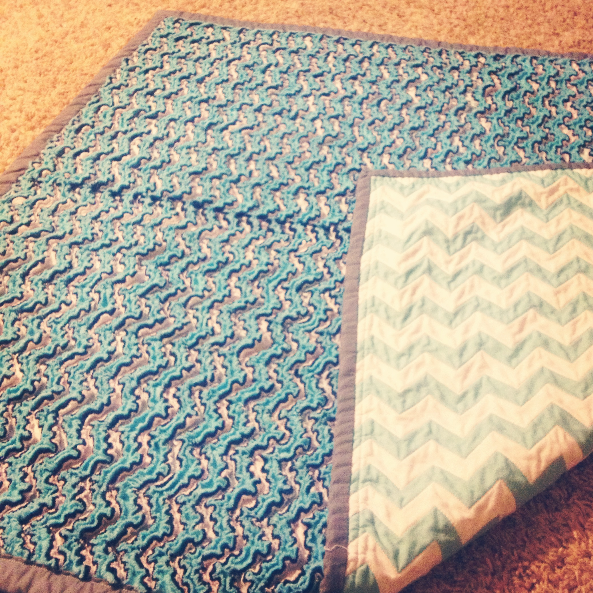Chevron Chenille Blanket in blue for bedding ideas