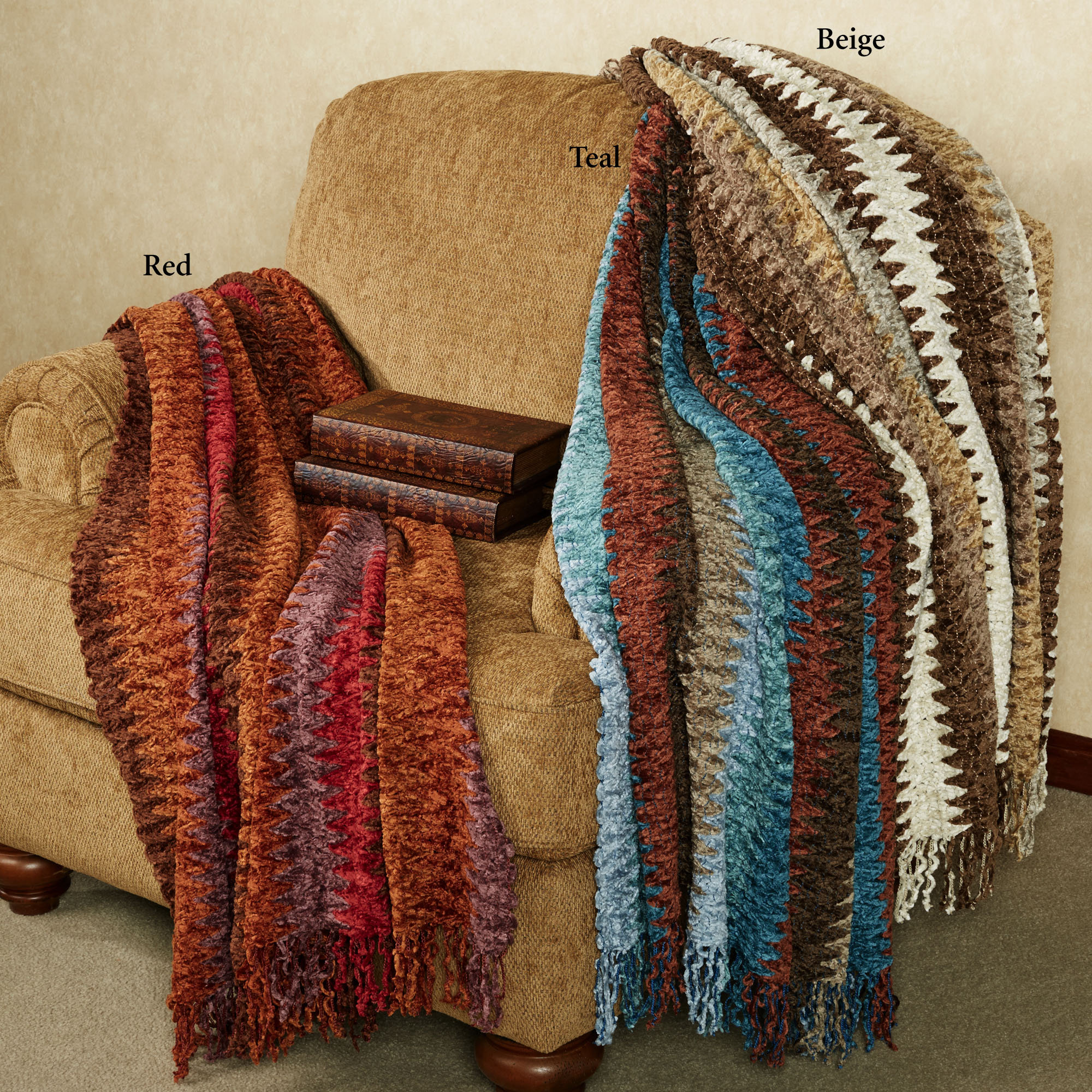 Chevron chenille blanket in multicolor with tassel ideas