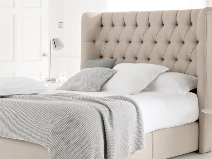 Chic Beige Tufted Upholstered Headboards Matched With White Bedlinen And Pillow For Bed Decor Ideas
