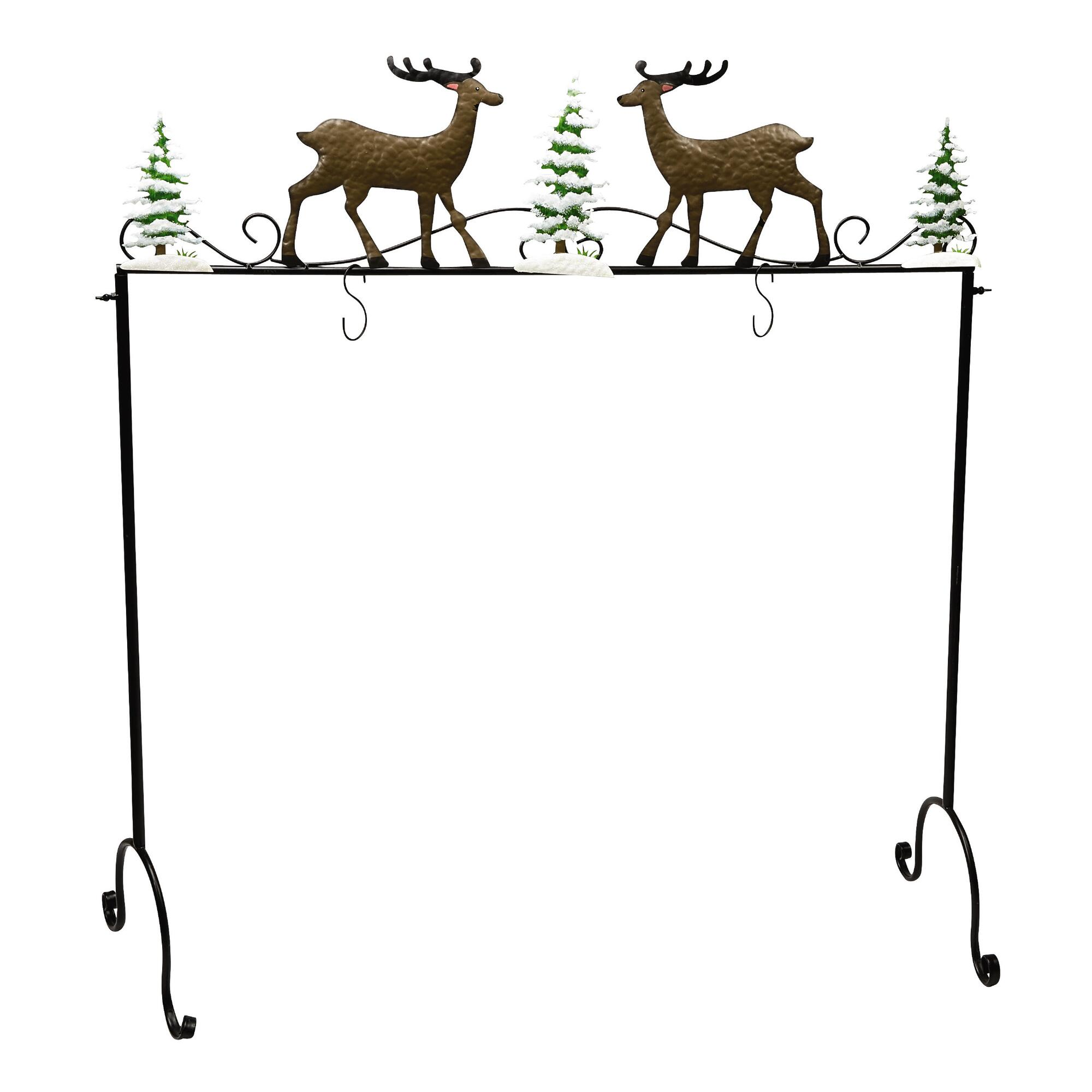 chic metal christmas stocking hanger with deer and christmas tree ornament for christmas decoration ideas