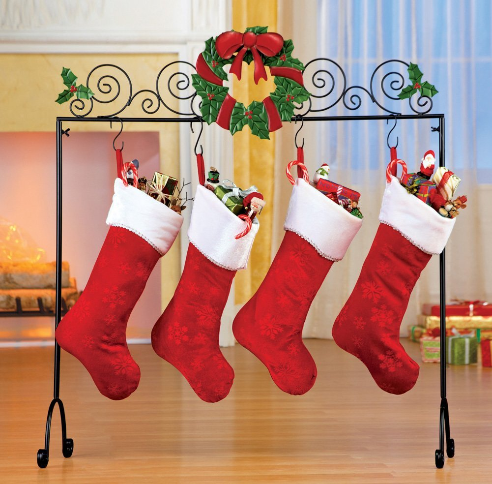 chic metal christmas stocking hanger with faux wreath ornament plus charming stocking for christmas decoration ideas