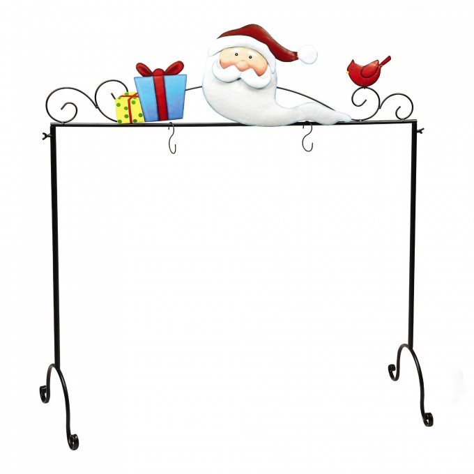 Chic Metal Christmas Stocking Hanger With Santa And Gift Ornament For Christmas Decoration Ideas