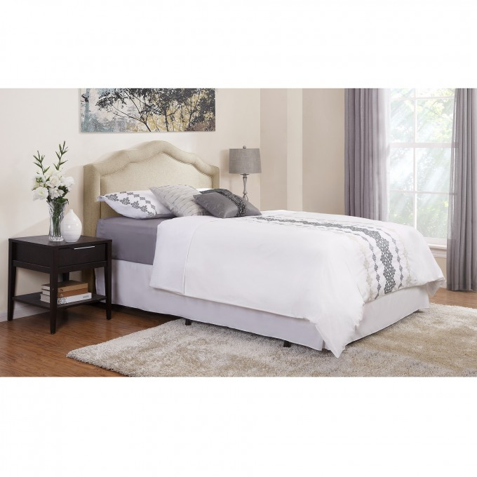 Chic Upholstered Headboards In Tan With White Bedding Plus Pillow For Bedroom Furniture Ideas