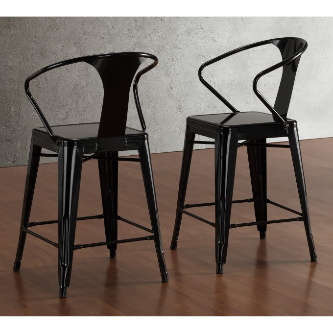 Classic 24 Inch Counter Stools In Black With Back For Home Furniture Ideas