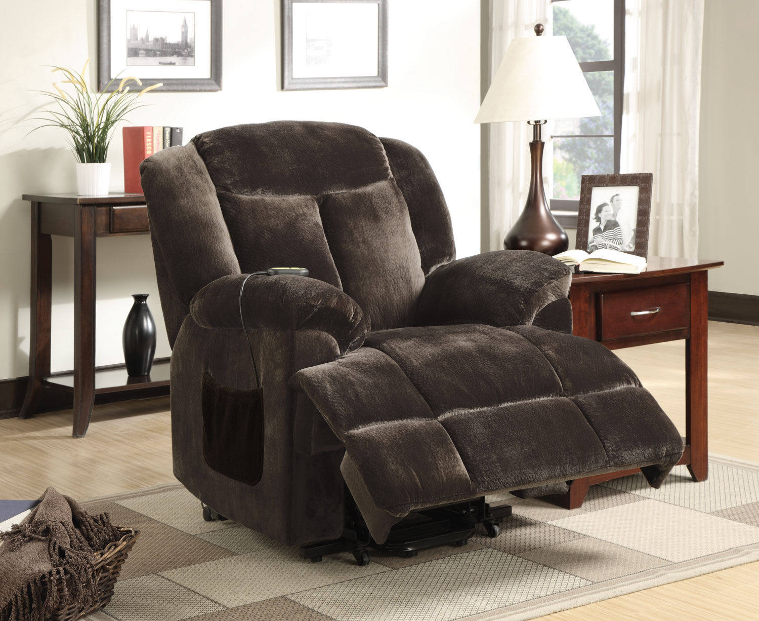 Coaster Living Room Power Lift Recliners 600173 in black on wooden floor plus carpet and table with table standing lamp ideas