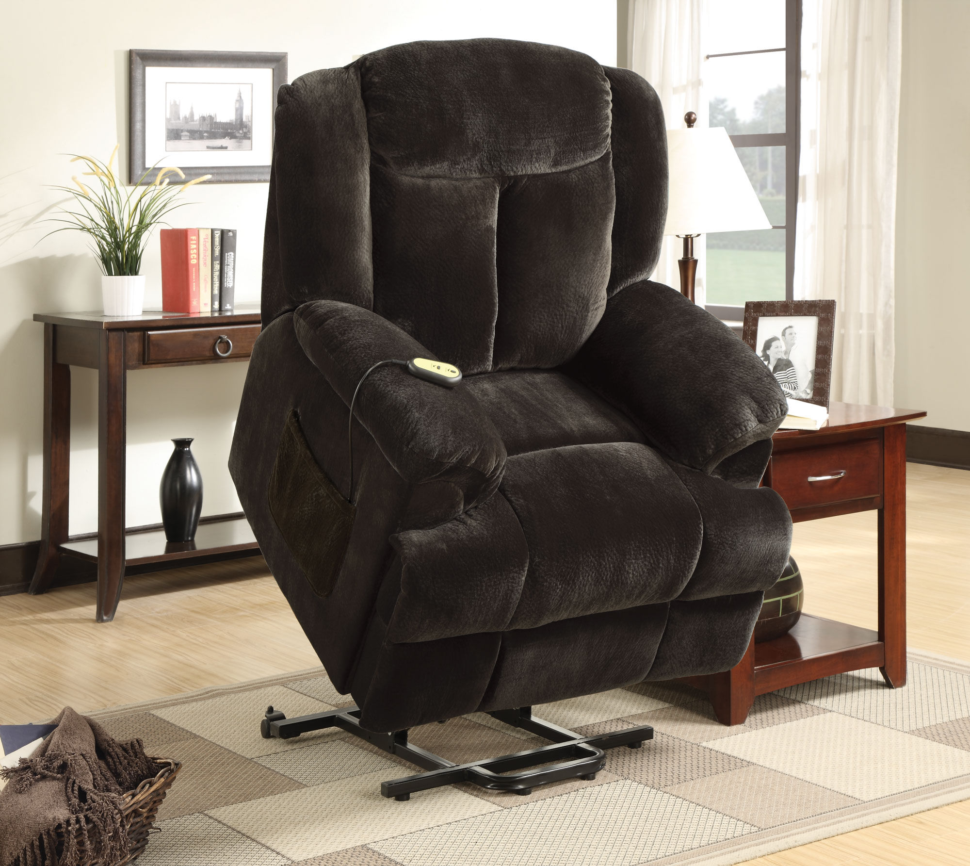 Coaster Living Room Power Lift Recliners 600173 in black on wooden floor with checked carpet for living room decor ideas
