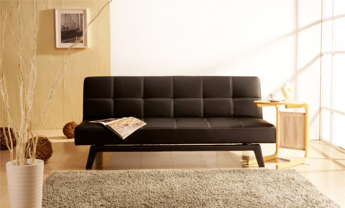 Comfortable Cheap Futons In Black On Wooden Floor Plus Carpet For Living Room Decor Ideas