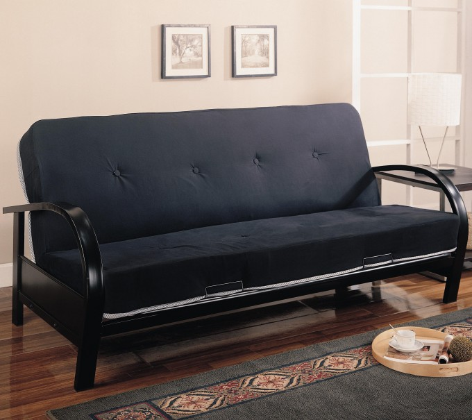 Comfortable Cheap Futons In Black On Wooden Floor Plus Carpet Matched With Cream Wall For Home Furniture Ideas