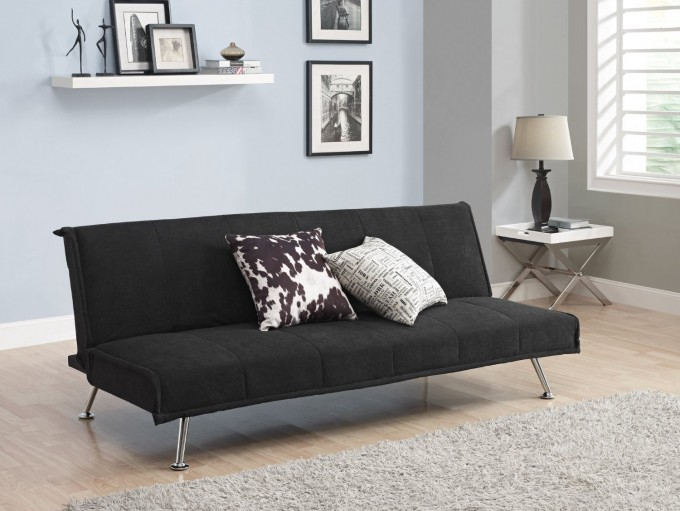 Comfortable Cheap Futons In Black With Silver Legs On Wooden Floor Plus Wheat Carpet Matched With Soft Blue Wall For Living Room Decor Ideas