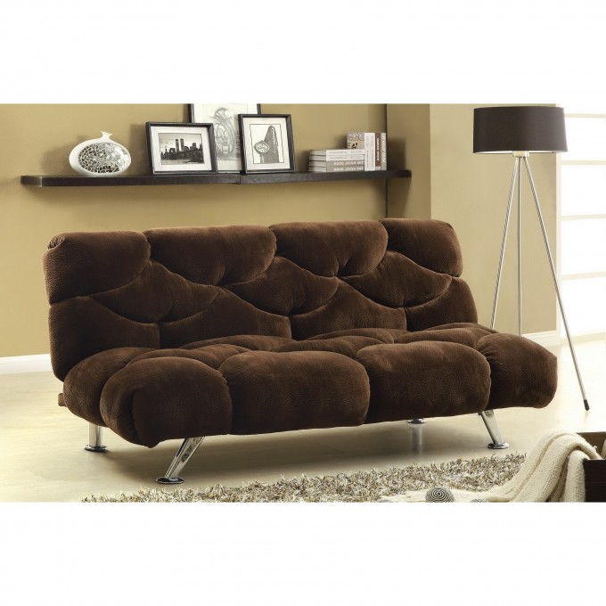 Comfortable Cheap Futons In Dark Brown With Silver Legs On Cream Ceramics Floor Plus Carpet And Floor Standing Lamp For Living Room Decor Ideas