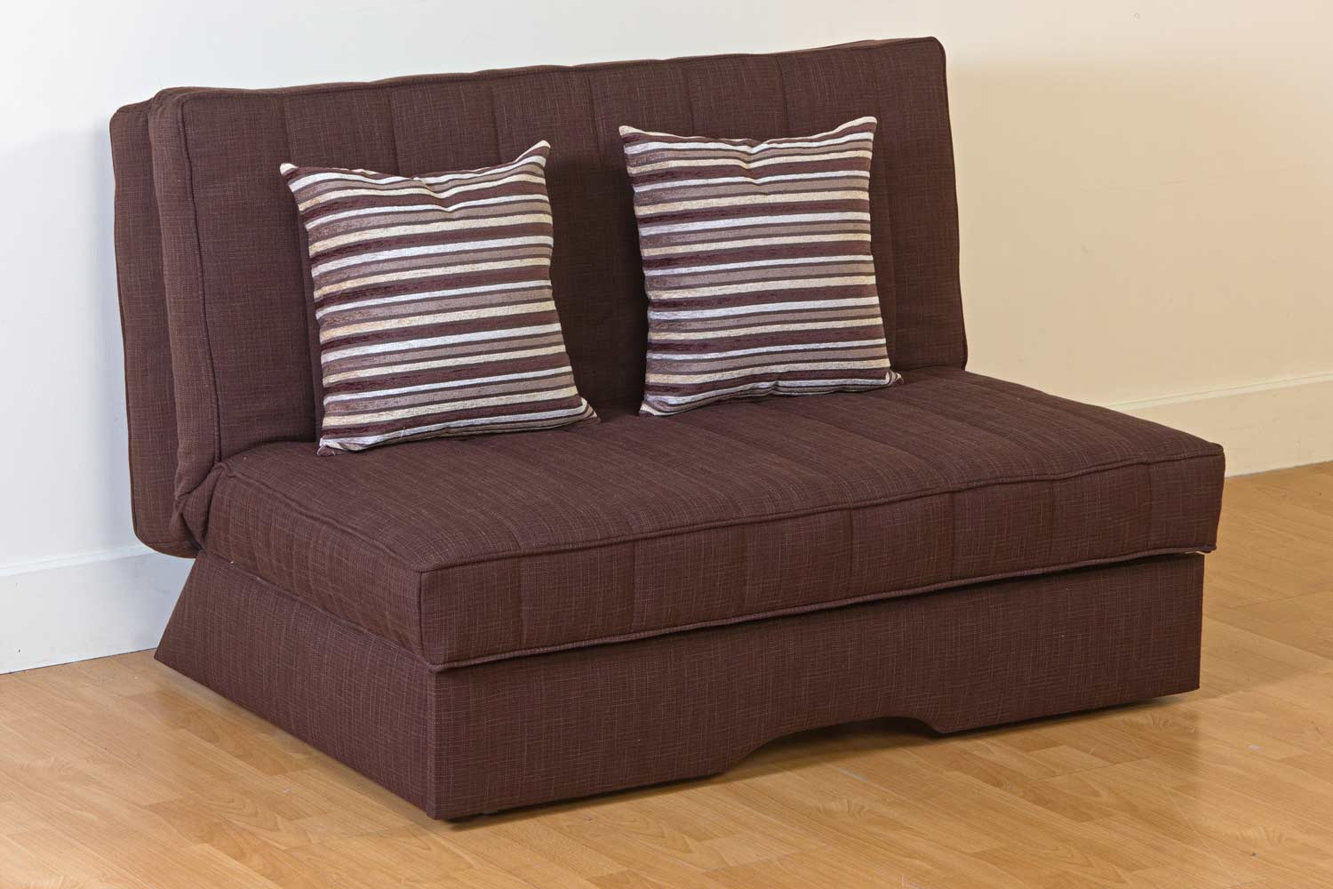 comfortable dark brown cheap futons with stripped cushions for home furniture ideas