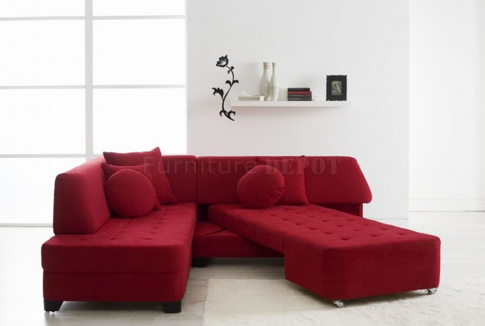 Comfortable Fabric Sectional Sleeper Sofa In Solid Red Plus Matching Cushion On White Ceramics Floor Matched With White Wall With White Glass Window For Living Room Decor Ideas