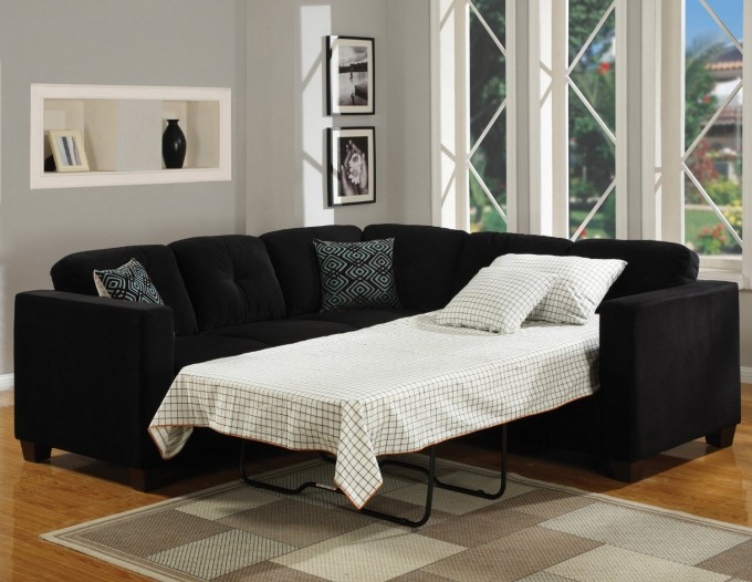 Comfortable Sectional Sleeper Sofa In Black And White Plus Cushion On Wooden Floor Matched With Grey Wall For Living Room Decor Ideas