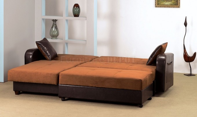 Comfortable Sectional Sleeper Sofa In Brown And Dark Brown For Home Furniture Ideas