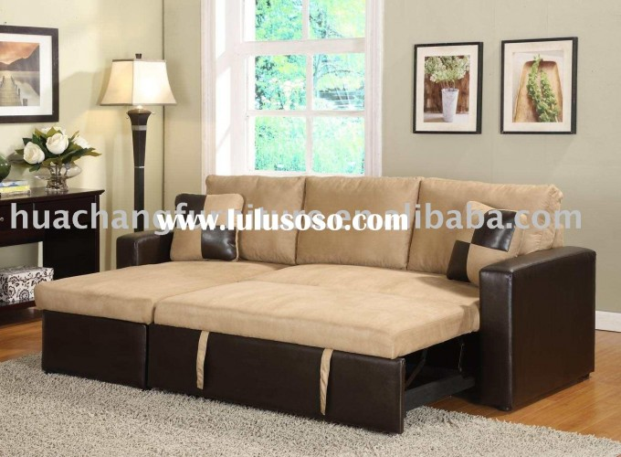 Comfortable Sectional Sleeper Sofa In Cream And Dark Brown On Wooden Floor Plus Grey Carpet Plus Floor Standing Lamp For Living Room Decor Ideas