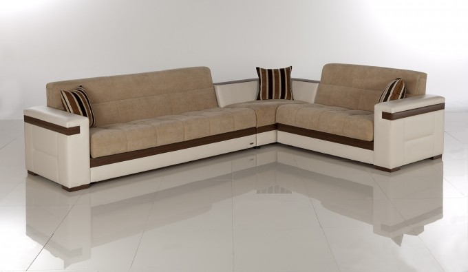 Comfortable Sectional Sleeper Sofa In Tan On White Ceramics Floor Matched With White Wall For Living Room Decor Ideas