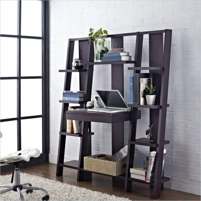 Computer Desk In Black Wooden Ladder Bookshelf On Wooden Floor Matched With White Bricked Wall For Living Room Decor Ideas