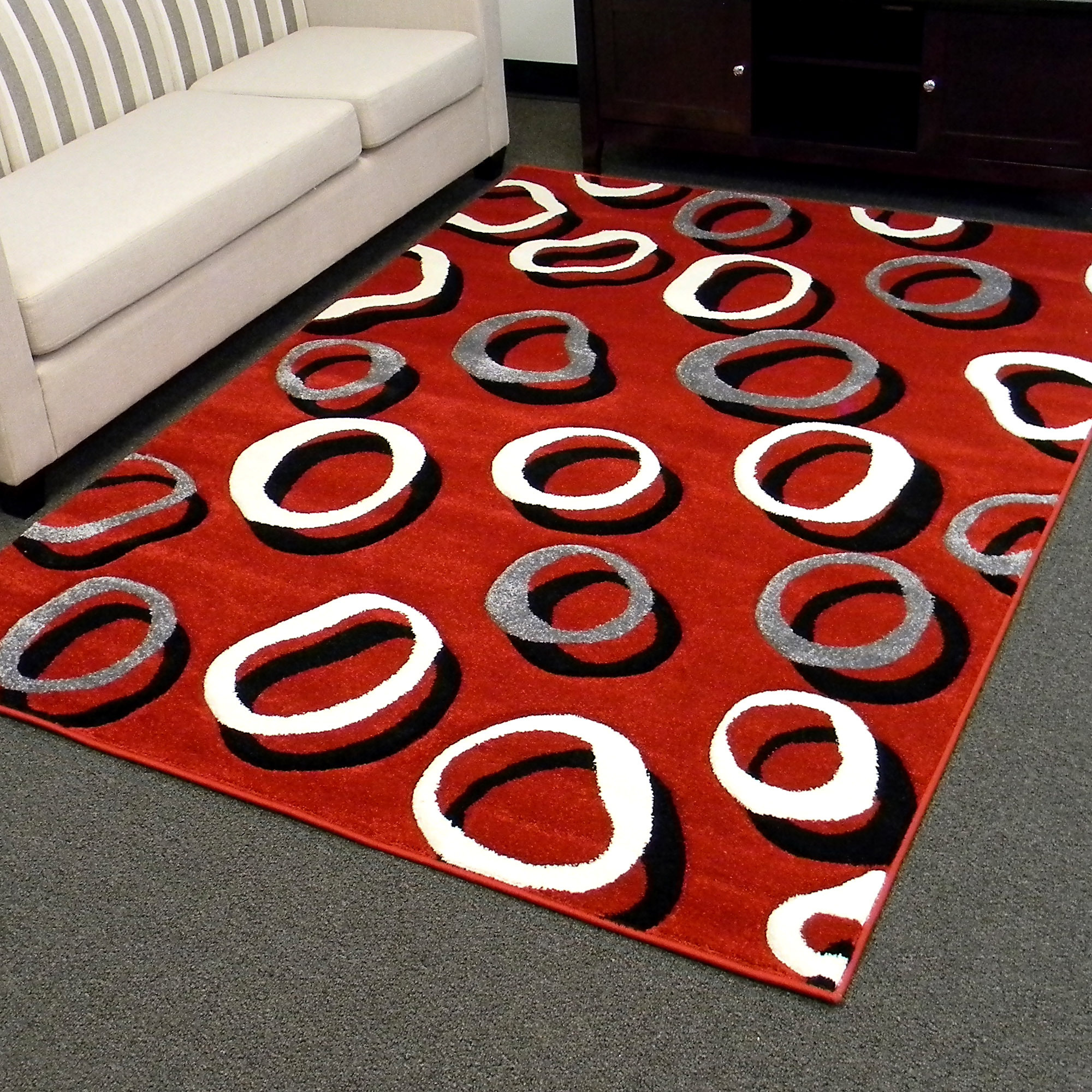 Cool 5x7 Area Rugs In Red With Black Grey And White Circle Motif For Floor  Decor