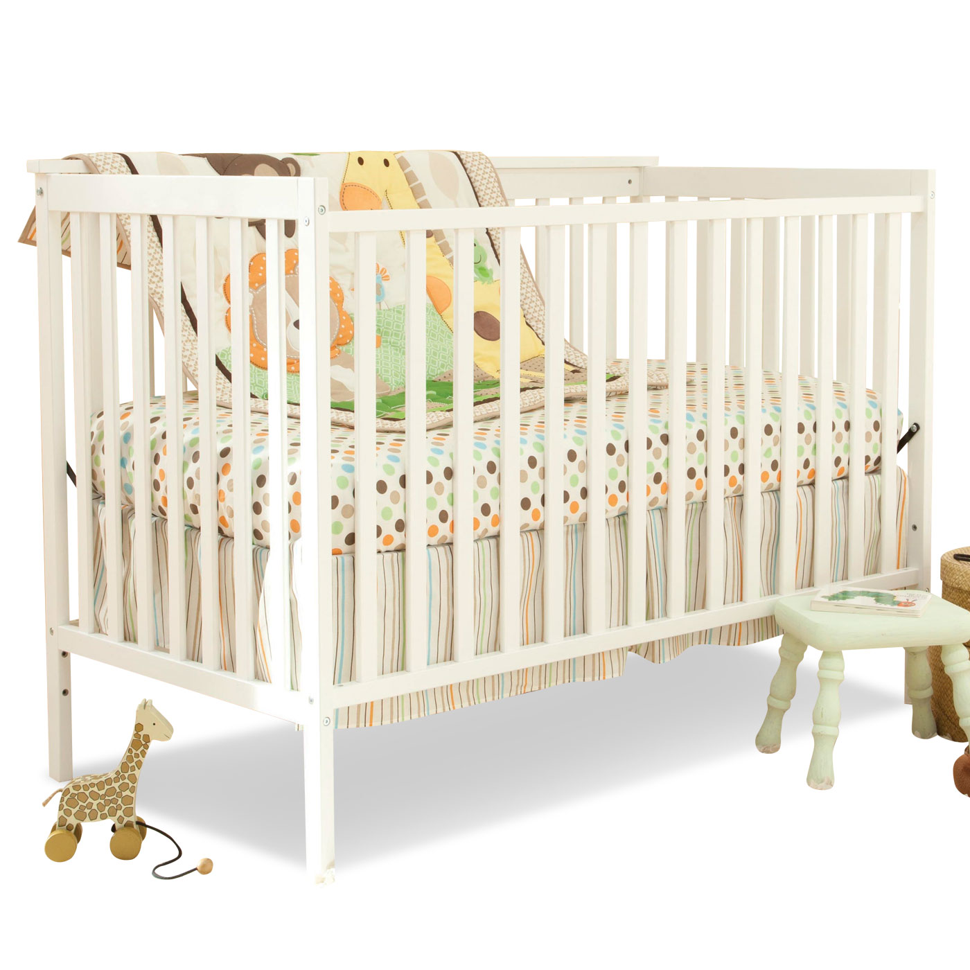 Cozy Baby Crib In White By Munire Crib With Dotted Bedding For Nursery Furniture Ideas