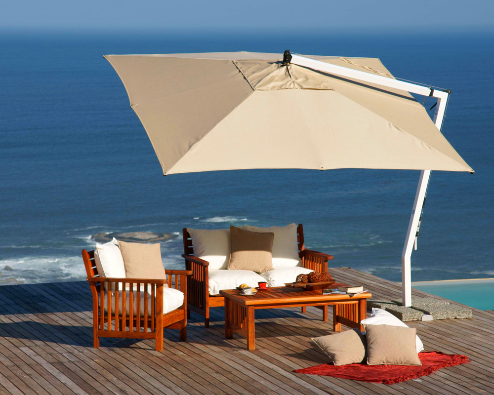 cream square cantilever patio umbrella with white stand plus wooden sofa set for patio decor ideas
