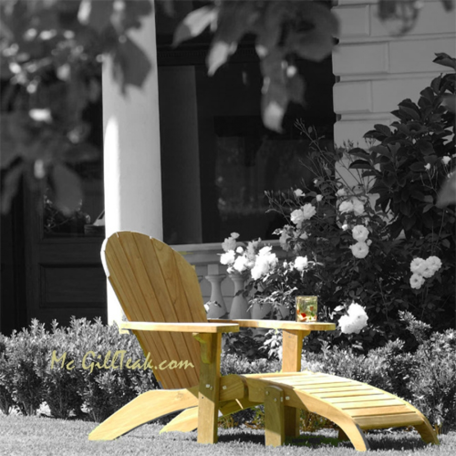 cream Teak Adirondack Chairs with matching ottoman for outdoor furniture ideas