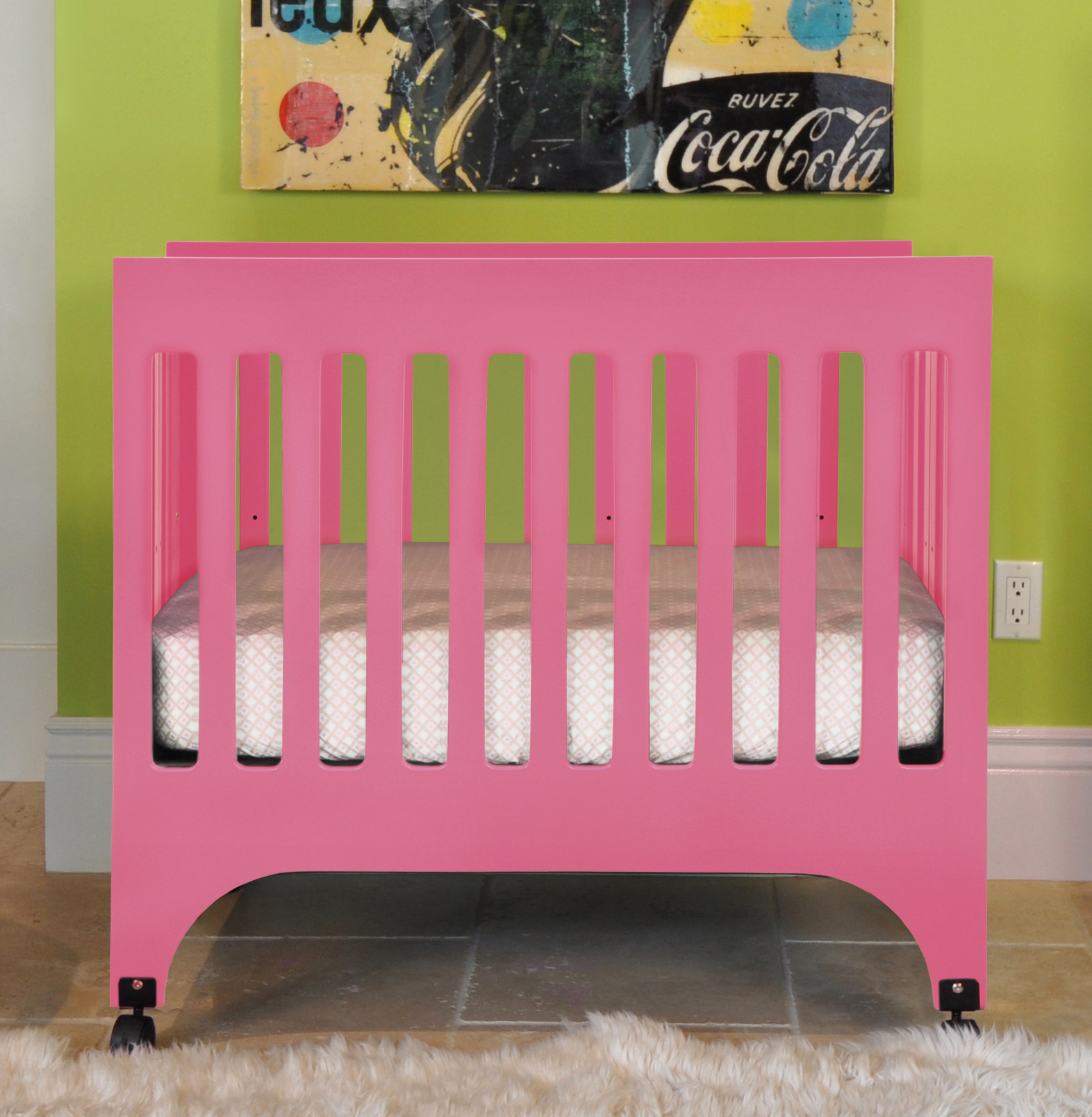 Crib In Pink By Babyletto On Tan Floor Matched With Green Wall For Nursery Furniture Ideas