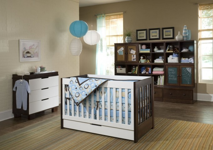 Crib In White Brown By Babyletto On Wooden Floor Matched With Cream Wall Plus Drawers For Nursery Decor Ideas