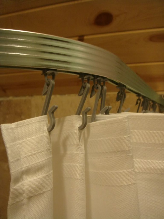 Curved Shower Curtain Rod In Olive With White Curtain For Shower Room Decor Ideas
