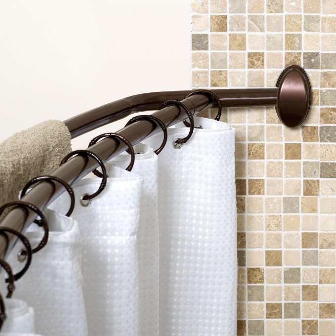 Curved Shower Curtain Rod With Black Curtain Rings And White Curtain For Shower Room Decor Ideas