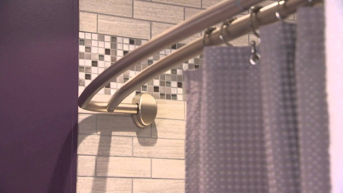 Curved Shower Curtain Rod With Curtain And Charming Tile Wall For Bathroom Decor Ideas