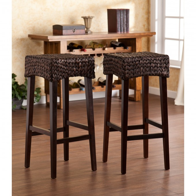 Dark Brown 24 Inch Counter Stools With Wicker Seat For Home Furniture Ideas