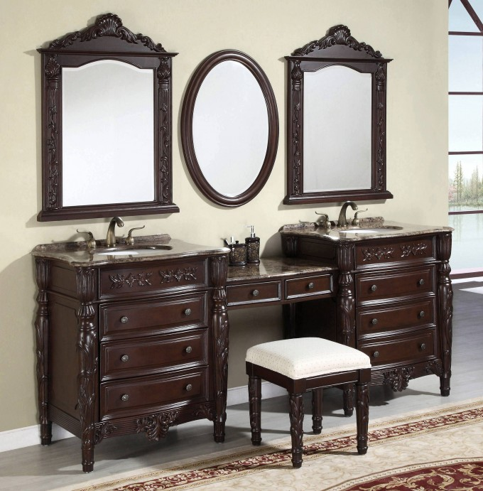 Dark Brown Bathroom Vanities With Tops And Double Sinks Plus Double Faucets On White Ceramics Floor Matched With Wheat Wall Plus Double Mirror For Bathroom Decor Ideas