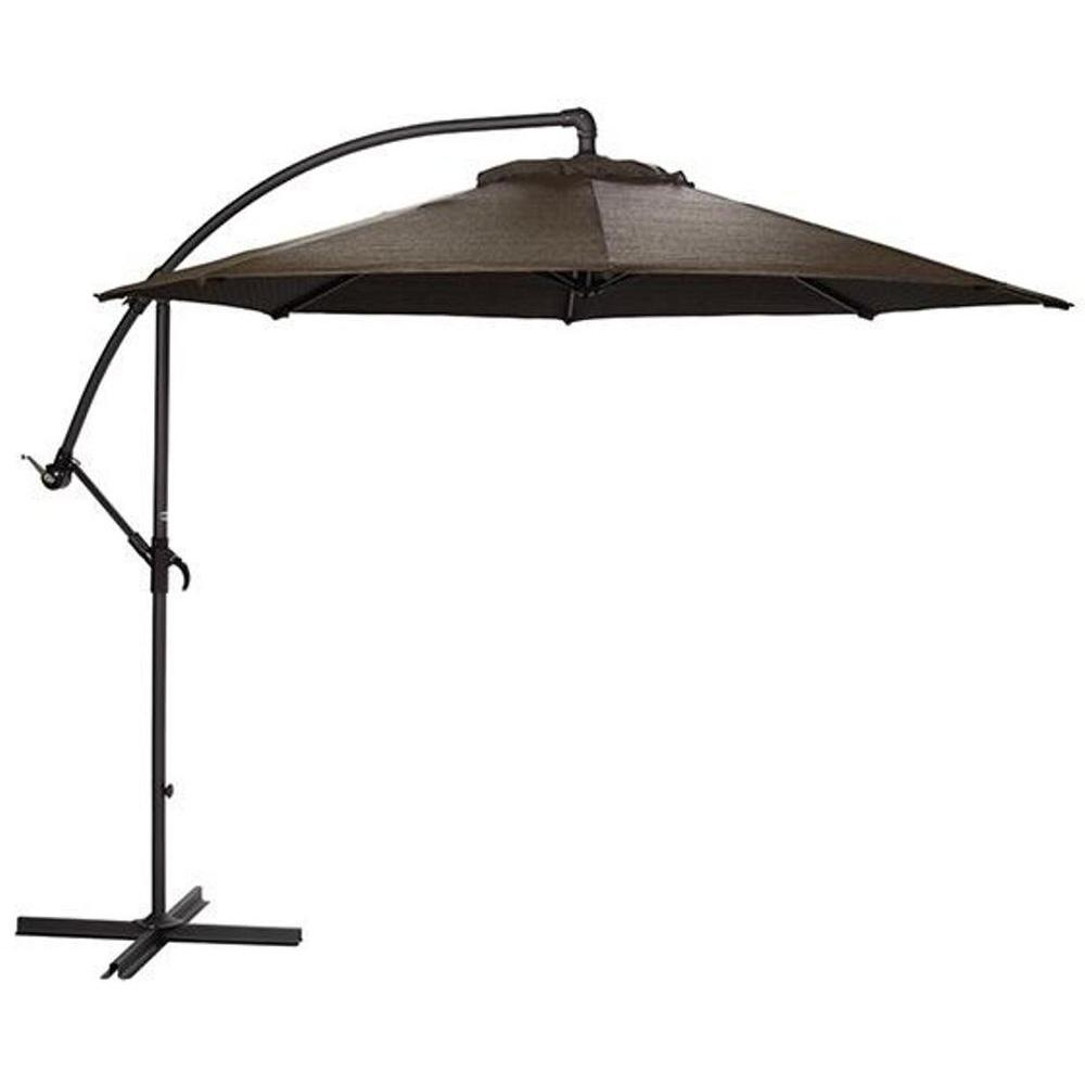 dark brown cantilever patio umbrella with black metal stand for patio furniture ideas