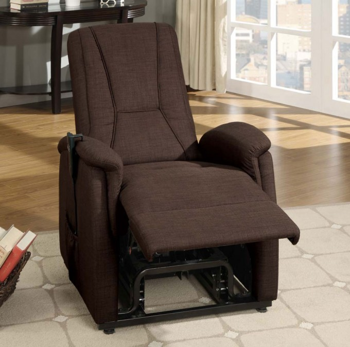 Dark Brown Fabric Power Lift Recliners On Wooden Floor With Wheat Carpet For Living Room Decor Ideas