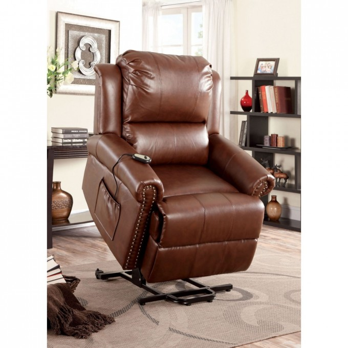 Dark Brown Leather Power Lift Recliners On Wooden Floor Plus Carpet With Rack For Living Room Decor Ideas