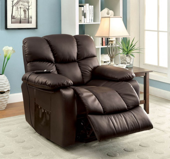 Dark Brown Leather Power Lift Recliners On Wooden Floor Plus White Carpet Plus Table With Table Standing Lamp Matched With Blue Wall For Living Room Decor Ideas