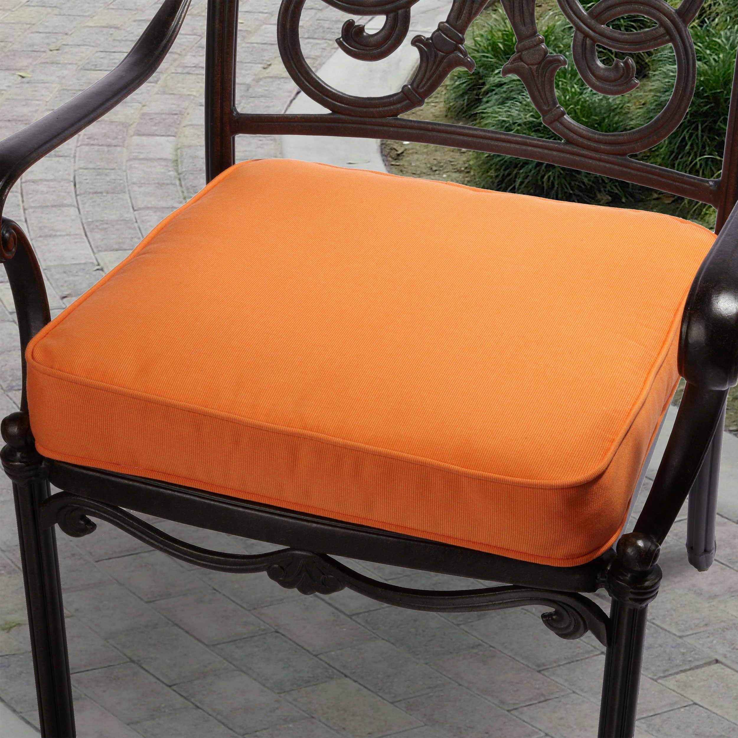 Dark Brown Metal Single Chair With Orange Sunbrella Cushions For Home Furniture Ideas