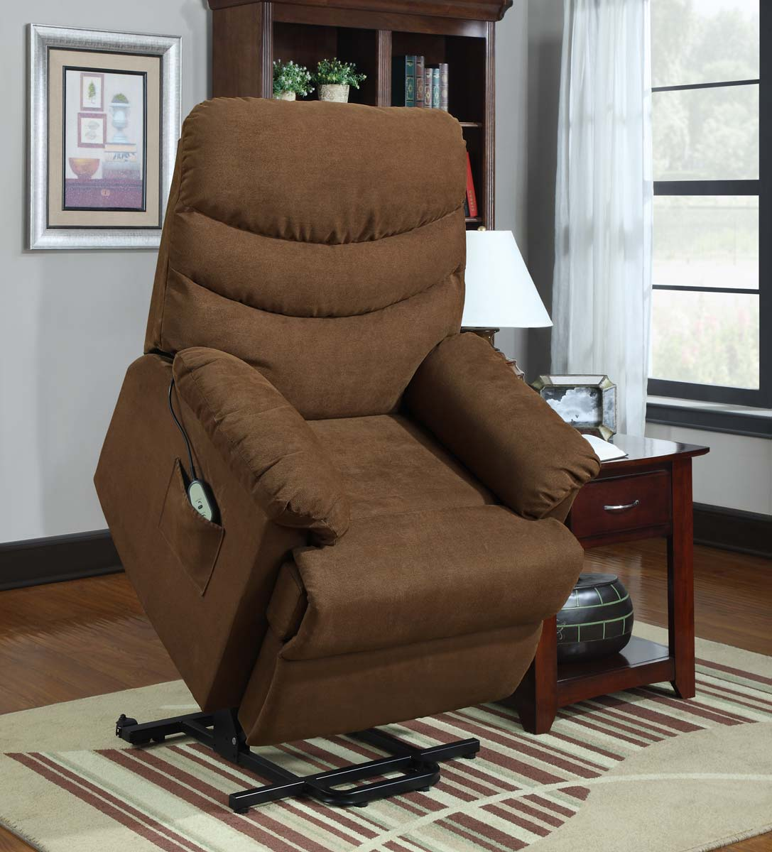 dark brown power lift recliners with pocket on wooden floor plus carpet for living room decor ideas
