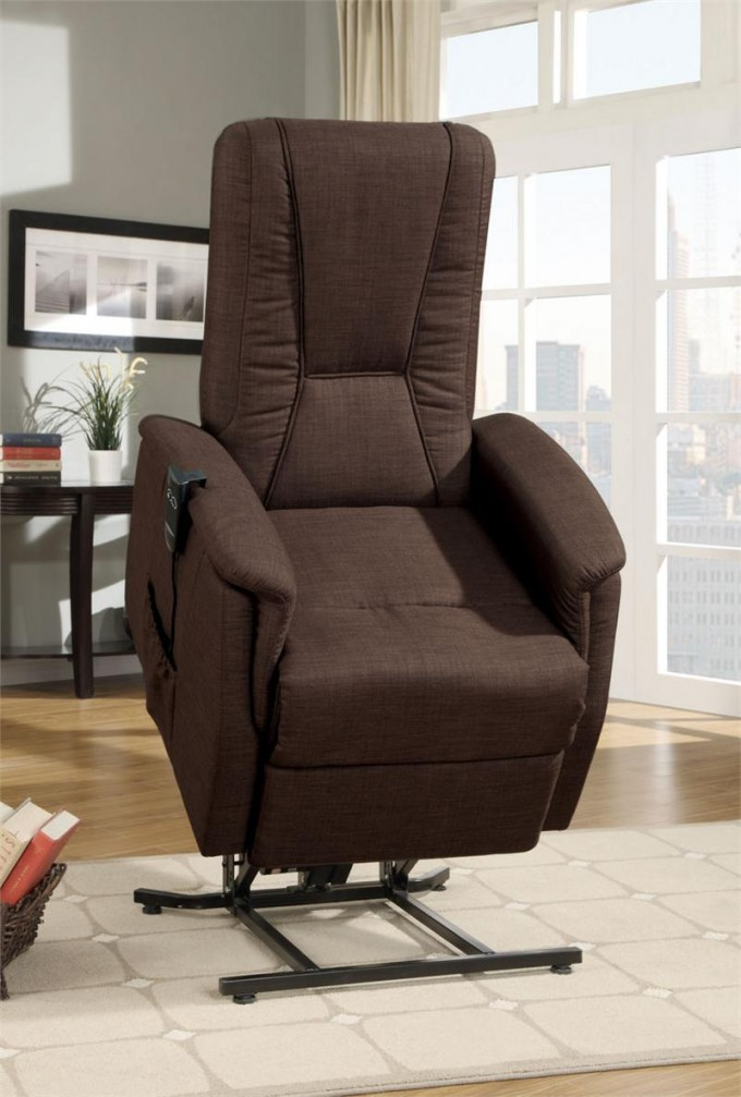 Dark Brown Power Lift Recliners With Pocket On Wooden Floor Plus White Carpet For Living Room Decor Ideas