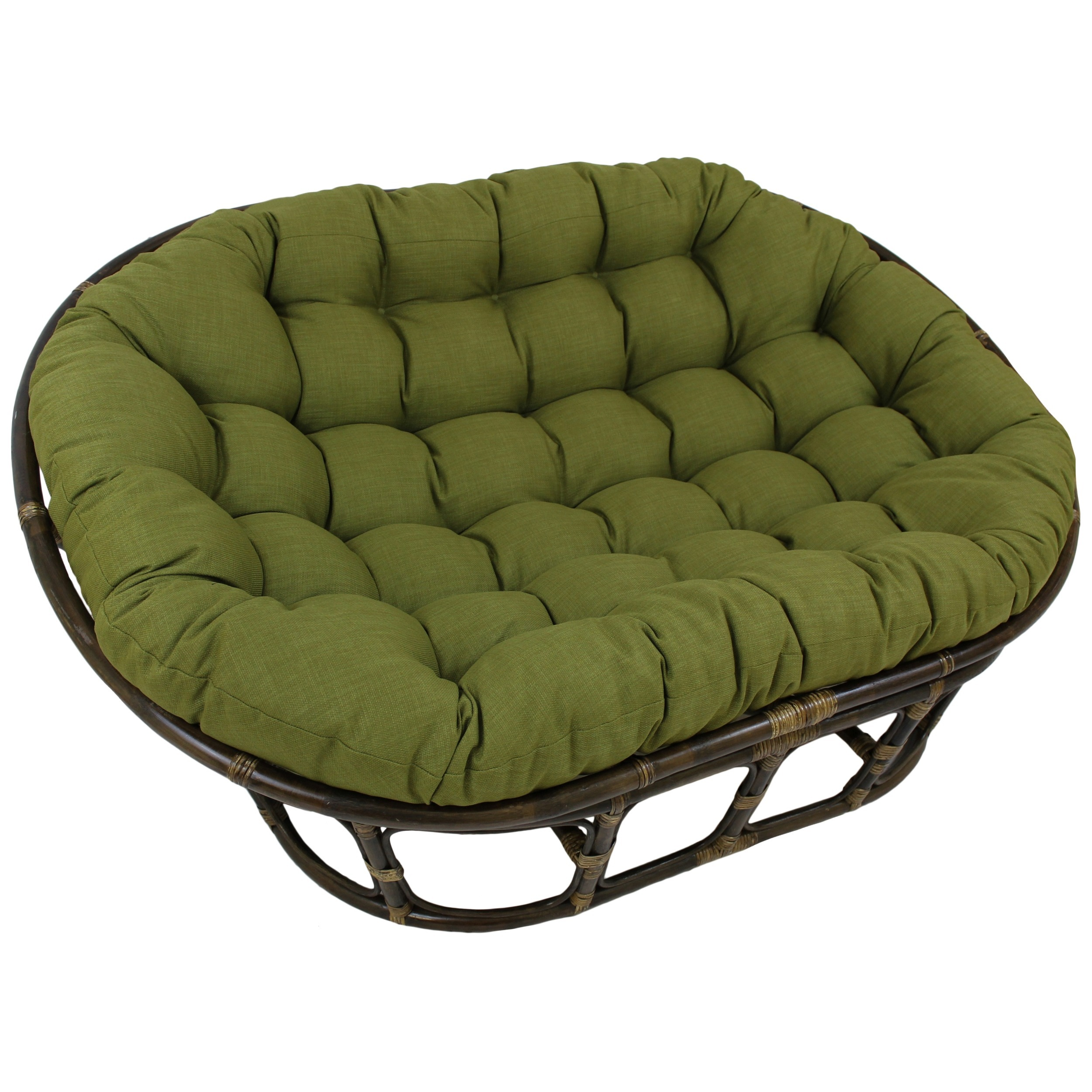 dark brown rattan outdoor papasan chair with green cushion seat for inspiring furniture ideas