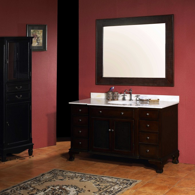 Dark Brown Wooden Bathroom Vanities With Tops And Single Sink And Faucet On Orange Floor Matched With Pink Wall Plus Mirror For Bahtroom Decor Ideas