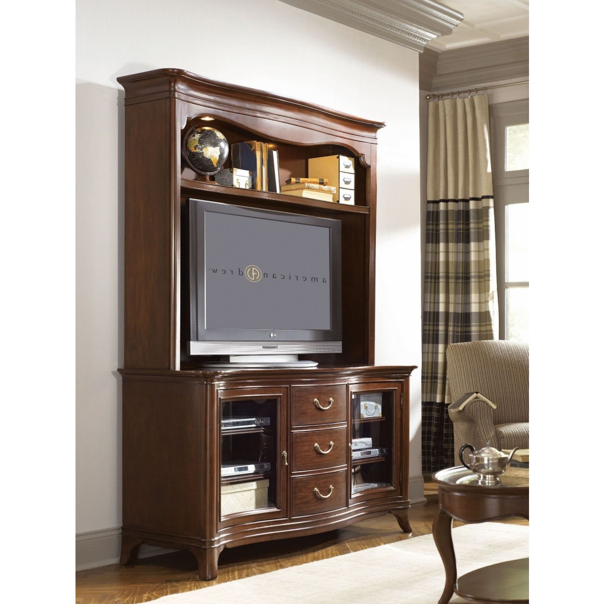 Beautiful Dark Brown Wooden Tv Armoire With Storage By Hammary Furniture On  Wooden Floor For Living Room With Living Room Tv Furniture Ideas