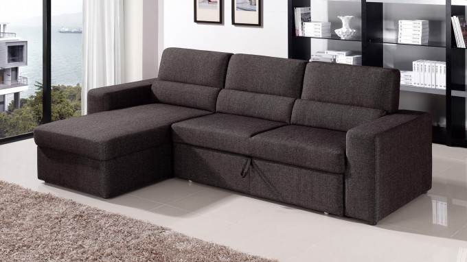 Dark Grey Sectional Sleeper Sofa On White Ceramics Floor Matched With White Wall For Living Room Decor Ideas