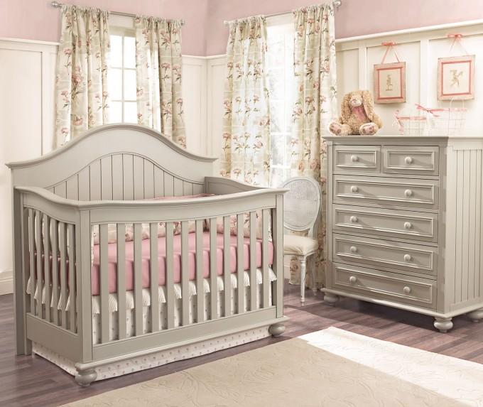 Dark Grey Wooden Munire Crib With Pink Bedding On Wooden Floor Plus White Carpet Plus Dresser For Nursery Decor Ideas
