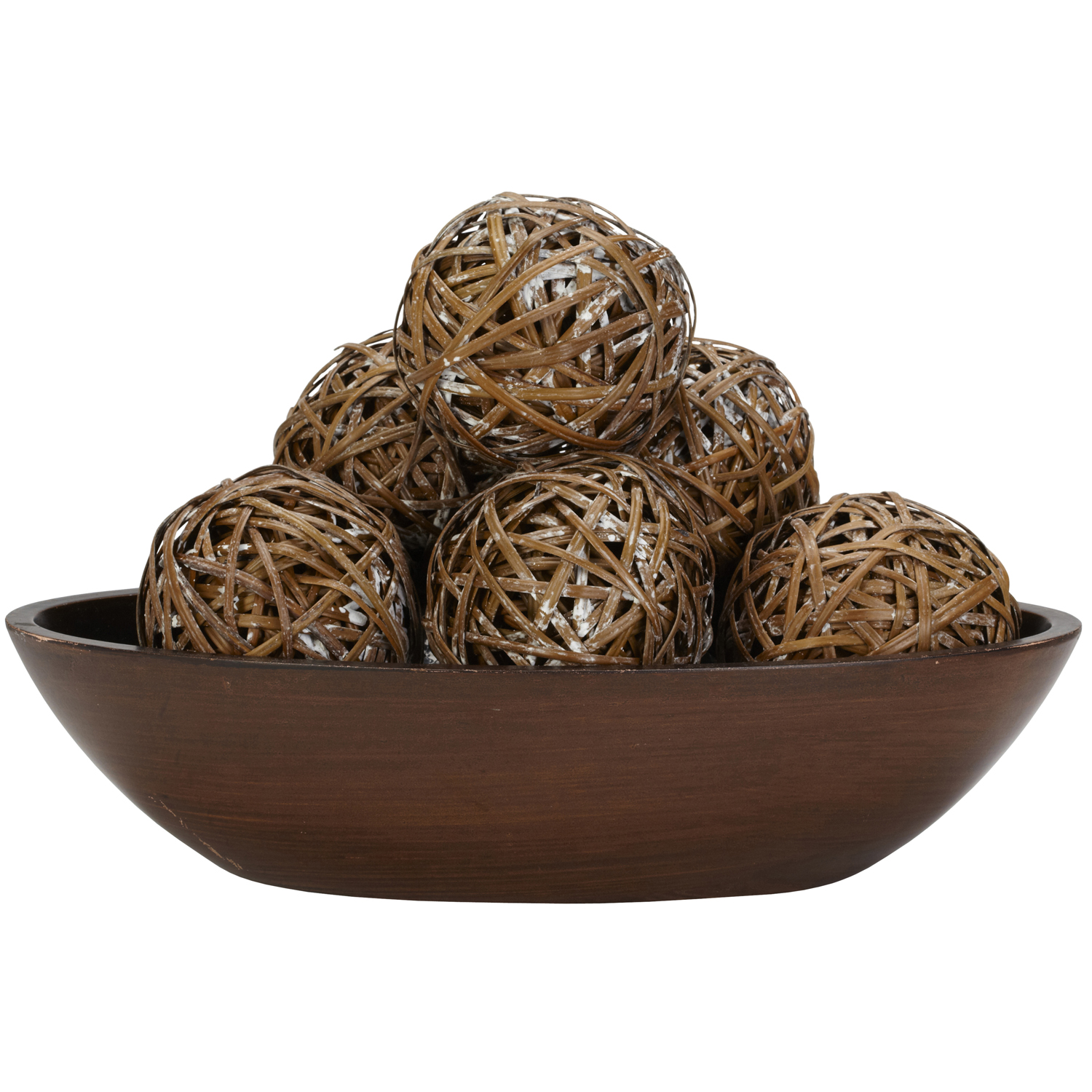 Decorative decorative orbs on brown bowl for table accessories ideas