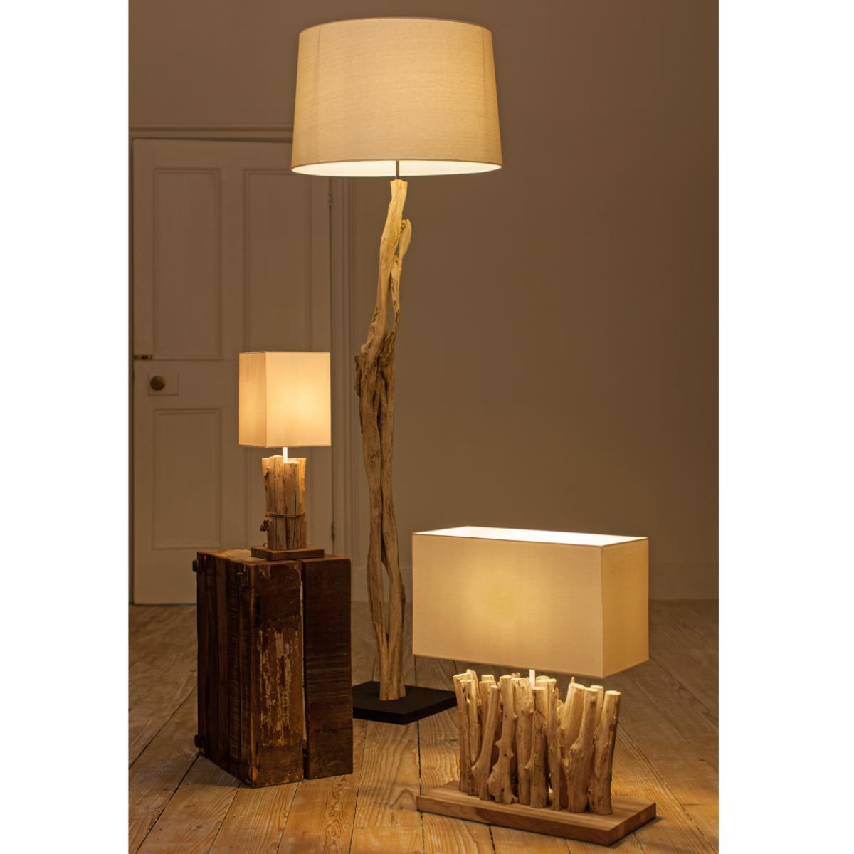decorative driftwood floor lamp with cream head for lighting decor ideas