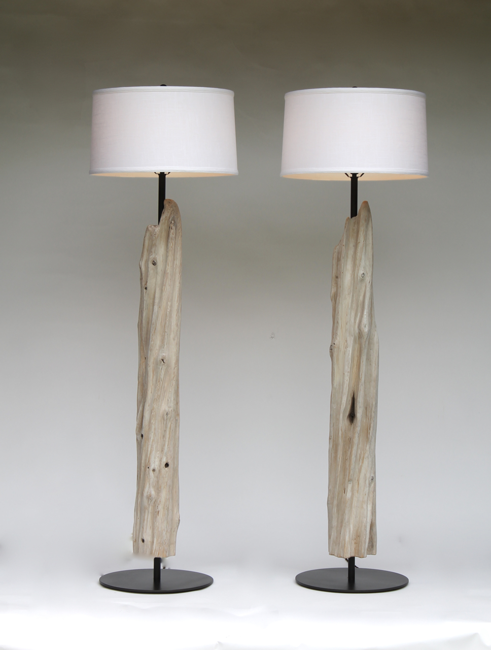 decorative driftwood floor lamp with round white head for lighting ideas